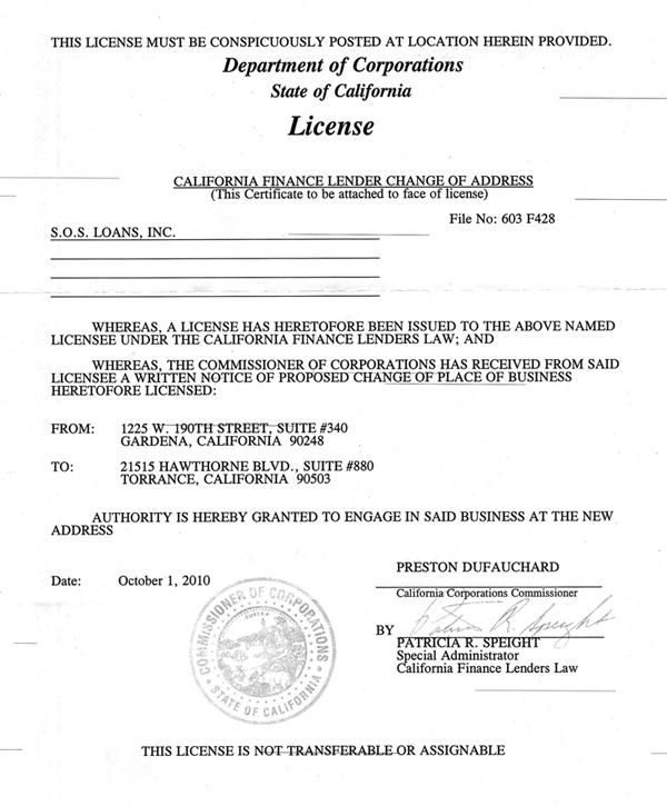 Copy of Finance Lenders License